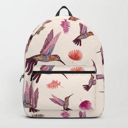 Hummingbird & Tropical Leaves - Soft Pastel Pattern Backpack