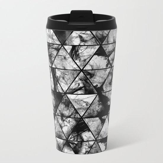 Triangular Whispers - Black and white, geometric abstract Metal Travel Mug