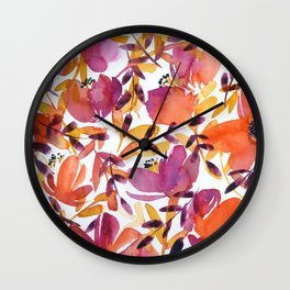 floral pattern: pink and orange Wall Clock