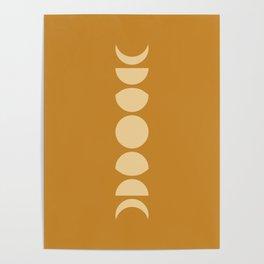 Minimal Moon Phases - Golden Orange Poster