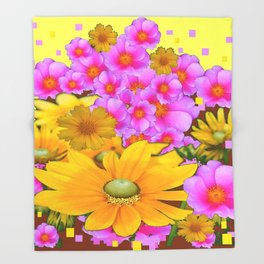 MODERN RAZZLE-DAZZLE PINK-YELLOW FLORALS Throw Blanket