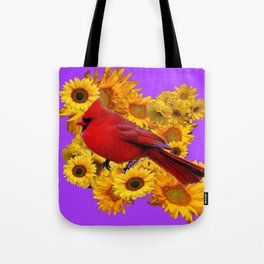 RED CARDINAL & YELLOW SUNFLOWERS PANTENE PURPLE Tote Bag