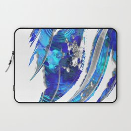 Blue and White Abstract Art - Flowing 2 - Sharon Cummings Laptop Sleeve
