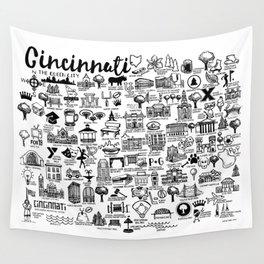 Cincinnati Ohio Map Wall Tapestry