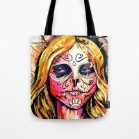 dia de los muertos Tote Bags featuring Dia De Los Muertos by Liz Haywood