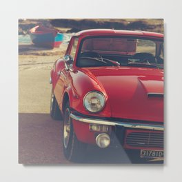 Red supercar and a boat, Triumph Spitfire by the sea, english sports car, British car Metal Print