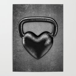 Kettlebell heart / 3D render of heavy heart shaped kettlebell Poster