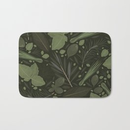 Green Herbs Spices / Olive Green Palette Bath Mat