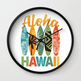Retro Hawaiian Surfboard Aloha Hawaii Wall Clock