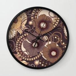 Chocolate poppy pattern. Wall Clock
