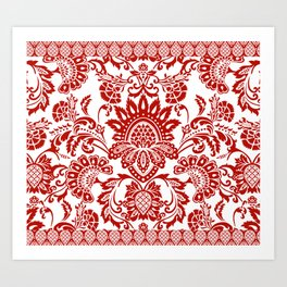 Damask in red Art Print
