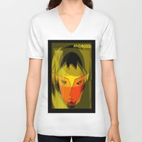 android V-neck T-shirts featuring ANDROID. by capricorn