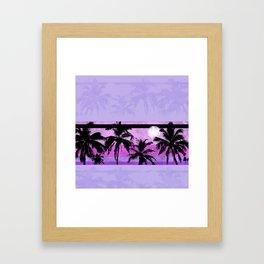 Palm Tree Grunge Purple Framed Art Print