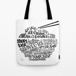 Hand Lettered Taiwanese Food Bowl Tote Bag
