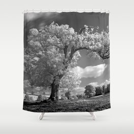 A Tree Blows in the Wind Shower Curtain