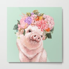 Baby Pig with Flowers Crown in Pastel Green Metal Print