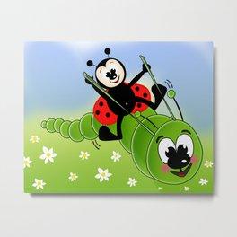 Ladybug and Caterpillar Metal Print