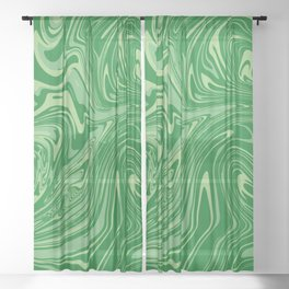 Green pastel abstract marble Sheer Curtain
