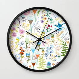 seamless pattern with bright multi-colored decorative flowers on a white background Wall Clock