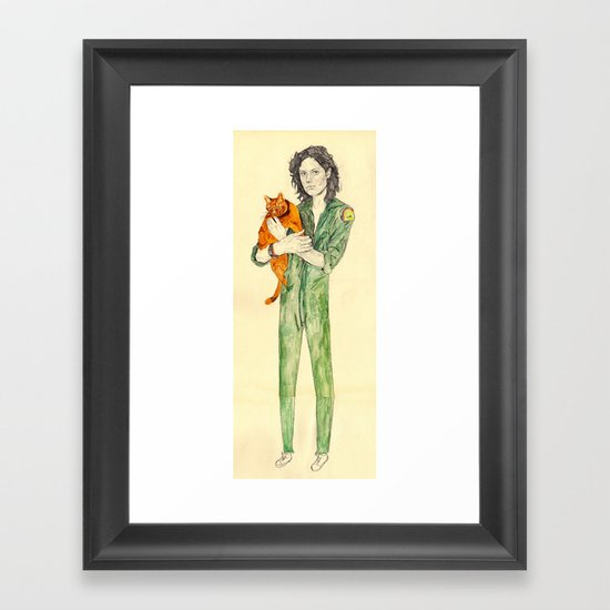Ellen Ripley with Jones | Alien Framed Art Print