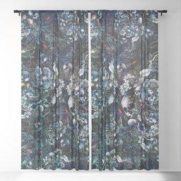 Night Garden Skulls Sheer Curtain
