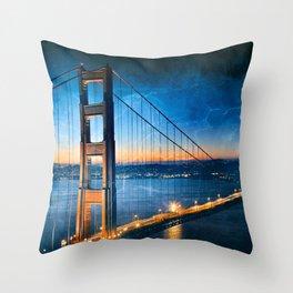 Golden Gate Ghost Bridge Throw Pillow
