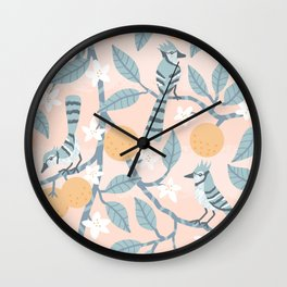 Blue Jays And Oranges Wall Clock