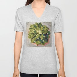 Renewed, Echeveria Succulent Plant Painting Unisex V-Neck