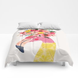 Pink flamingo with flowers on head Comforters