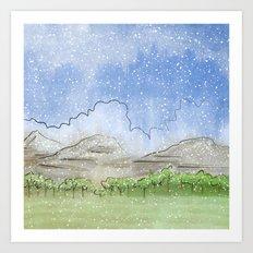 Snowy Watercolor Landscape Art Print