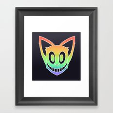 Rainbow Cat Head (white outline) Framed Art Print