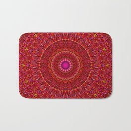 Red Jungle Mandala Bath Mat