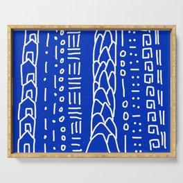 Indigo Blue House Hills Lines Pattern Serving Tray