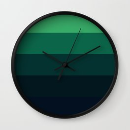 Forest Green Stripes Wall Clock