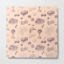 Sweet pattern with various desserts. Metal Print