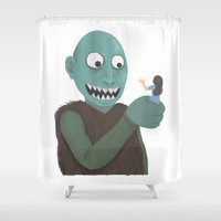 eat Shower Curtains featuring eat by yogiobluda