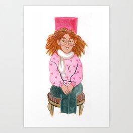 Girl with eyeglass Art Print