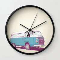 vw Wall Clocks featuring VW Combi v.02 by CranioDsgn