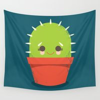 kawaii Wall Tapestries featuring Kawaii Cactus Dude by Steph Dillon