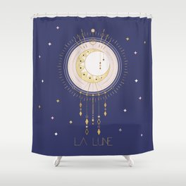The Moon and stars - magical tarot illustration no6 Shower Curtain