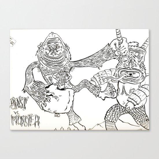 Beast Vs. Monster Canvas Print