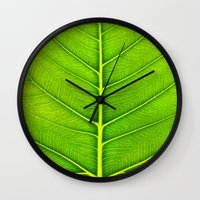 leaf Wall Clocks featuring Leaf by Patterns and Textures