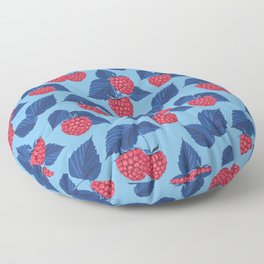 Raspberry on blue background Floor Pillow