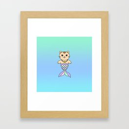 Mermaid cat, mermaid tail, mermaid cat sticker, mermaid, mercat, ombre Framed Art Print