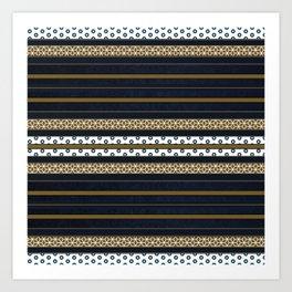 Navy Blue Gold Multi Pattern Stripe Print Art Print
