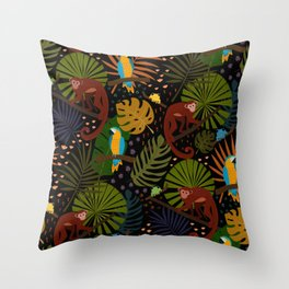 Jungle Pattern with Monkeys, Macaws and colorful Dart Frogs Throw Pillow