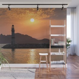 Lighthouse Sunset Wall Mural