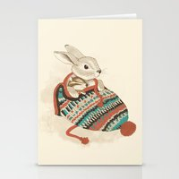 fabric Stationery Cards featuring cozy chipmunk by Laura Graves