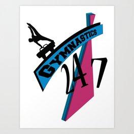 247 Gymnastics Horse pinkblue Art Print
