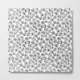 Mitosis - Black on White Metal Print